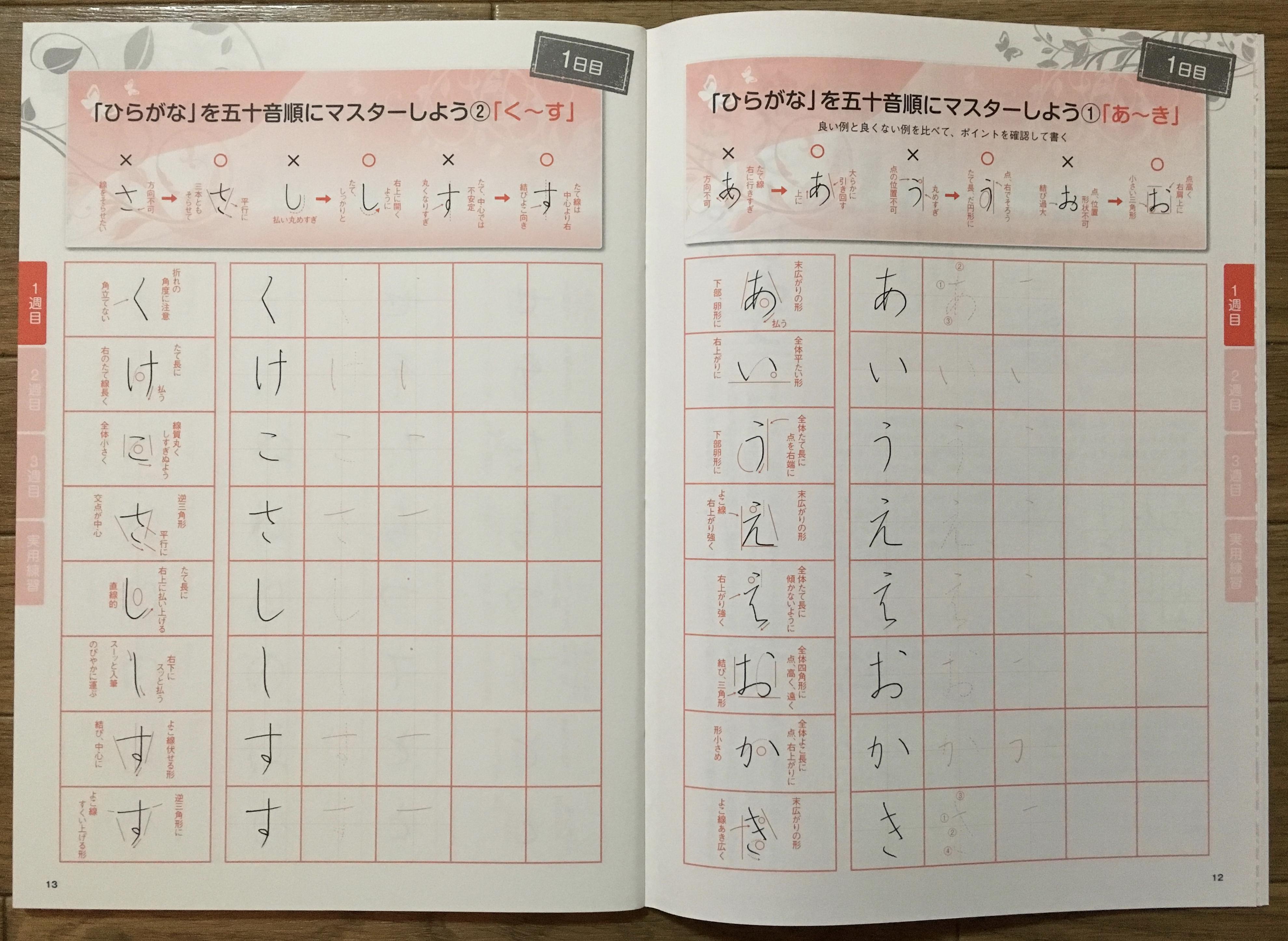 大人の美文字基本練習帳(ひらがな)